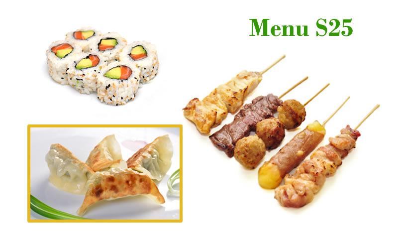 <b>MENU S25</b>  1 Soupe,1 salade,1 riz |4 Raviolis, 6 Pièces de maki california saumon avocat, 5 Brochettes : 1 Poulet, 1 Boulette de poulet, 1 Boeuf, 1 Boeuf au fromage, 1 aile de poulet. |   <b>17.80 €</b>