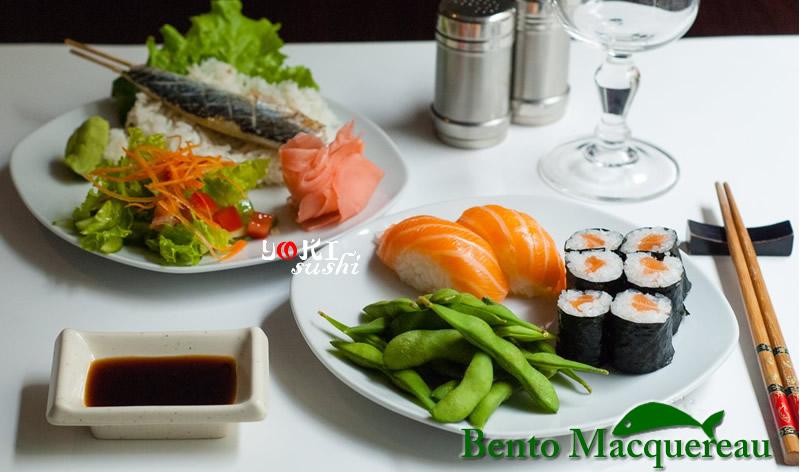 <b>B02</b>  Soupe,salade,riz |Macquereau grillé avec du riz, 2 Sushi saumon, 6 Maki, Edamane,salade tomates  , concombre, carottes. |   <b>17,80 €</b>