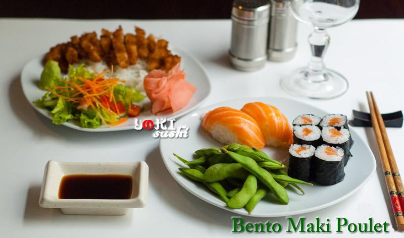 <b>B05</b>  Soupe,salade,riz |Poulet pané, 6 Maki, 2 Sushi saumon, 1 Edamane, salade tomates  , concombre, carottes, gingembre.  |   <b>17,80 €</b>